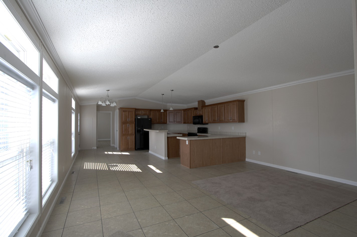 Large spacious open living room, kitchen and dining room