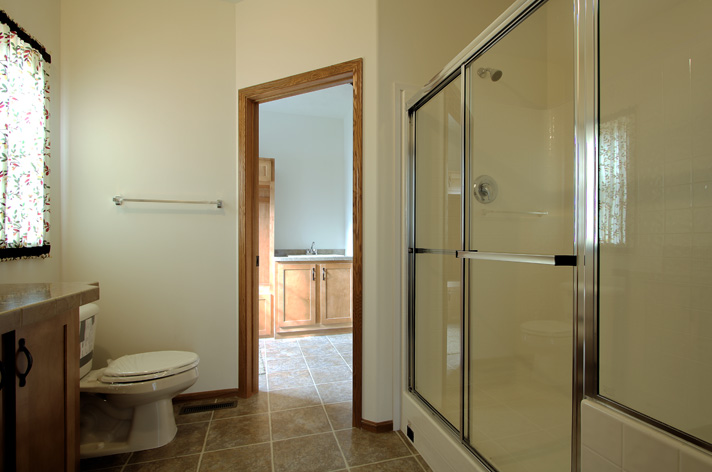 Ensuite bath from standing in the doorway to the master bedroom