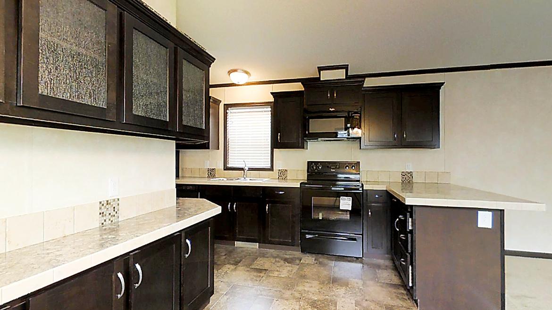 Dark Cabinet Kitchen with Wrap Around Hutch